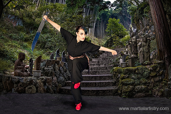 Monique Curley demonstrates poise and power with the kung fu nandao, or Southern Broadsword.
