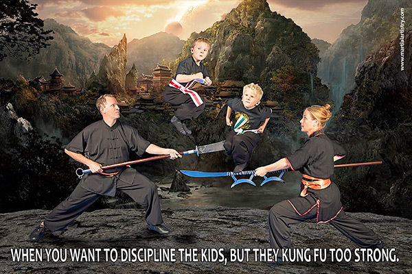 Keeping up with the kids can be tricky when they're kung fu masters!