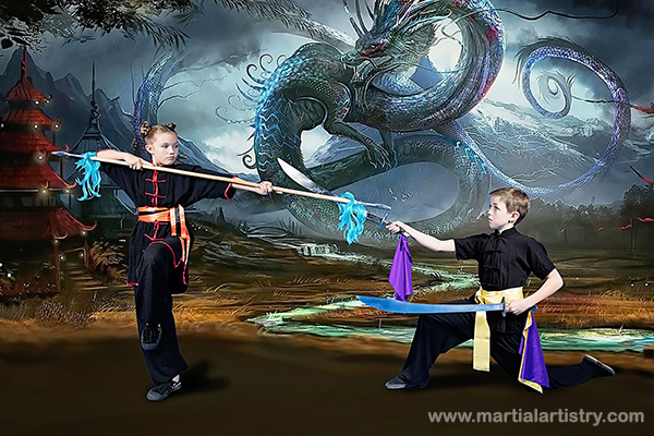 Carley and Lawson Maze demonstrate kung fu sibling rivalry with double head spear and double broadsword.