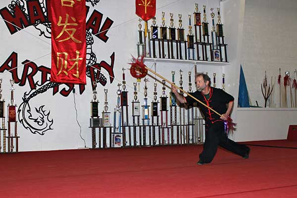 Randy Lantz kung fu double head spear Albuquerque karate school