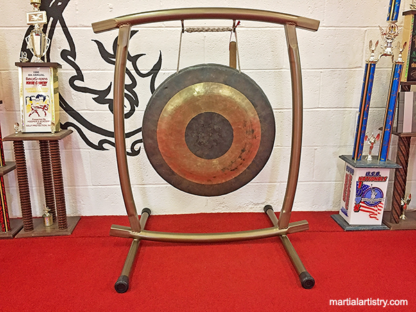 Chinese kung fu gong stand, made by Todd Coffey, to celebrate another martial arts black sash at Martial Artistry Shaolin Kung Fu and Chinese Wushu in Albuquerque, NM. Isn't it glorious?