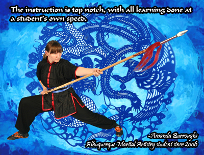 """The instruction is top notch, with all learning done at a student's own speed."" - Amanda Burroughs, Albuquerque Martial Artistry student since 2006 (photo: Amanda with double head spear)"