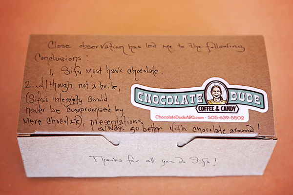 Best of all, there was chocolate! Thanks for the lovely note, Jen.