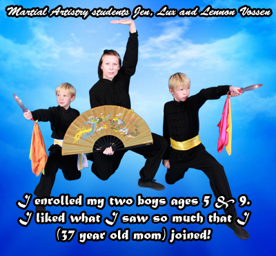 I enrolled my two boys ages 5 & 9. I liked what I saw so much that I (37 year old mom) joined! Martial Artistry Shaolin Kung Fu & Chinese Wushu Albuquerque New Mexico students Jen, Lux and Lennon Vossen.